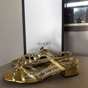 GUCCI Gold Pearl Studded Spike BEE Sandals $1290
